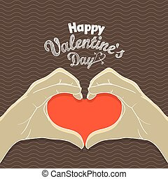 Happy Valentines Day greeting card. Hands with the heart