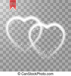Happy Valentines Day greeting card. I Love You. 14 February. Holiday background with two hearts, light, stars on transparent background. Vector Illustration