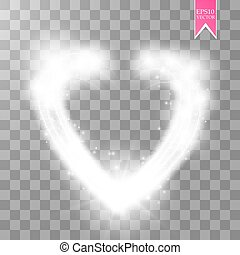 Happy Valentines Day greeting card. I Love You. 14 February. Holiday background with hearts, light, stars on transparent background. Vector Illustration