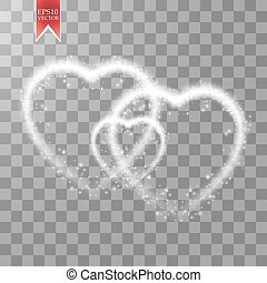 Happy Valentines Day greeting card. I Love You. 14 February. Holiday background with three hearts, light, stars on transparent background. Vector Illustration
