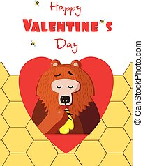 Happy valentines day greeting card of cute bear eating honey in red heart