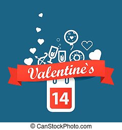 Happy valentines day greeting card. Vector illustration
