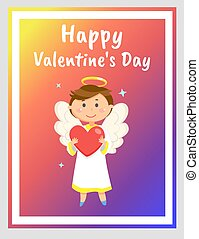 Happy Valentines Day Greeting Card with Angel - Angel boy ...