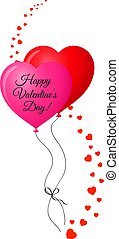 couple of red and pink heart shaped helium balloons