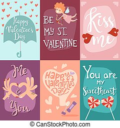 Happy Valentines Day greeting cards vector illustration. ...