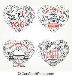 Happy Valentine's Day greetings card, labels, badges,...