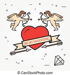 Happy Valentine's Day greetings card, labels, badges, symbols, illustrations, tattoo and typography vector elements. For web design and application interface. Thin line icon.