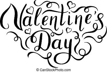 Happy Valentines Day handwritten lettering.