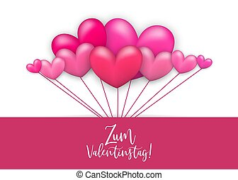 Happy valentines day heart greeting card - Balloon pink....