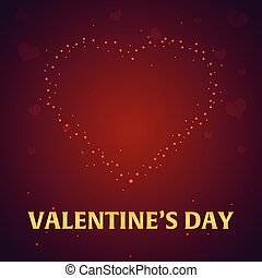 Happy Valentines Day. Heart on red background. Vector illustration.