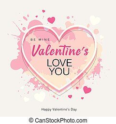Happy Valentine's Day heart shape love you message