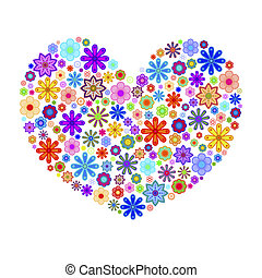 Happy Valentines Day Heart with Colorful Flowers