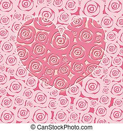 Happy Valentines Day Heart with Pink Roses