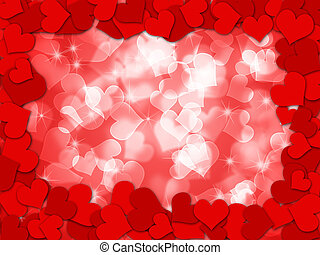 Happy Valentines Day Hearts Border Bokeh
