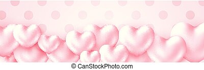 Happy Valentines Day holidays poster with 3d metall shiny Heart Pastel colored. Greeting text on soft pink background.