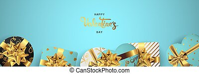 Happy valentines day horizontal realistic banner flat lay top view