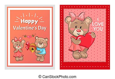 Happy Valentines Day I love You Posters Male Teddy