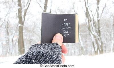 Happy Valentines day idea - retro book with inscription.