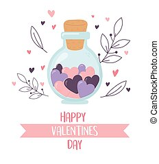 happy valentines day, jar glass with hearts love foliage