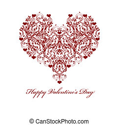 Happy Valentines Day Leaf Vine Hearts Motif Illustration