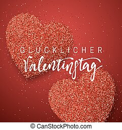 Happy Valentines Day. lettering German Inscription handmade....