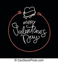 Happy Valentines Day lettering greeting card. Be my Valentine concept. Vector banner with