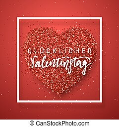 Happy Valentines Day lettering greeting card on red bright...