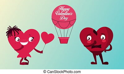 happy valentines day lettering in balloon air hot with hearts couple character