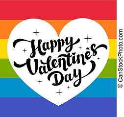 Happy Valentines Day lettering on rainbow background with...