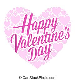Happy Valentines Day Lettering Surrounded With Little Hearts Background