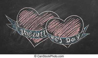 Lettering Valentines Day and two hearts are hand drawn with chalk on a blackboard. Love concept. I Love You. Seamless looping animation.