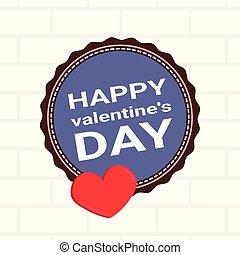 Happy Valentines Day Logo Flat Icon Logo Element One Big Hot