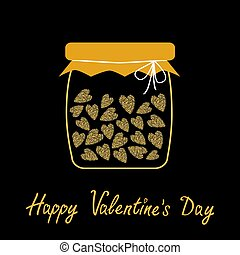Happy Valentines Day. Love card. Bottle jar with hearts inside. Gold sparkles glitter texture Black background