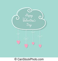 Happy Valentines Day. Love card. Cloud with hanging rain button drops, bow. Heart shape. Dash line Flat design Pink, blue color background