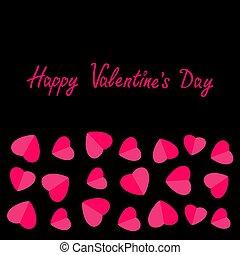 Happy Valentines Day. Love card. Heart frame. Flat design Pink symbol on black background.