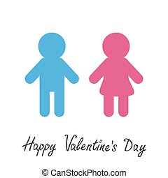 Happy Valentines Day. Love card. Man and Woman icon Blue pink symbol Isolated White background Flat design