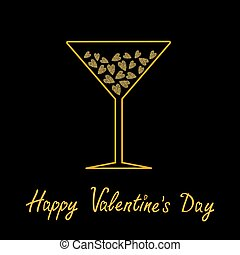 Happy Valentines Day. Love card. Martini glass with hearts inside. Gold sparkles glitter texture Black background