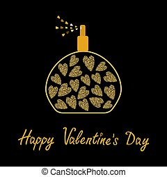 Happy Valentines Day. Love card. Perfume bottle with hearts inside. Gold sparkles glitter texture Black background
