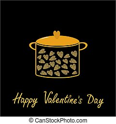 Happy Valentines Day. Love card. Pot with hearts. Gold sparkles glitter texture Black background