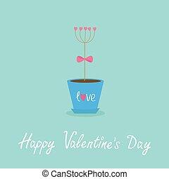 Happy Valentines Day. Love Flat design. Blue background