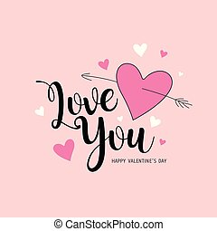 Happy Valentine's Day Love you message pink and white heart