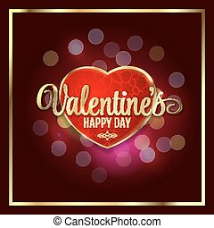Happy valentines day luxury heart with bokeh lights Valentine's background