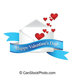 happy valentines day mail. illustration design over a white ...