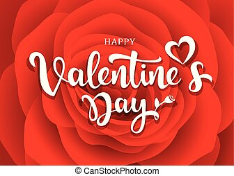 Happy Valentine's Day message design on red rose