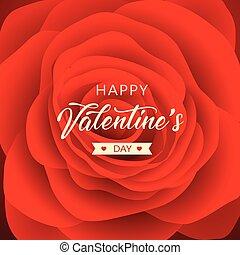 Happy Valentine's Day message red rose background