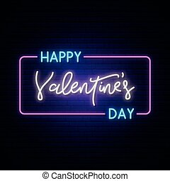 Happy Valentine's Day neon horizontal banner.
