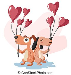 Happy Valentines Day of couple dog with balloon, Valentines card and poster