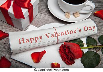 """happy valentine's day"" on newspaper"