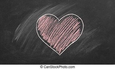 One heart are hand drawn with chalk on a blackboard. Valentines day. I Love You. Health care concept.