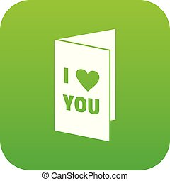 Happy Valentines day or weeding card icon digital green for...